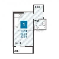 1 комнатная квартира-студия - 2